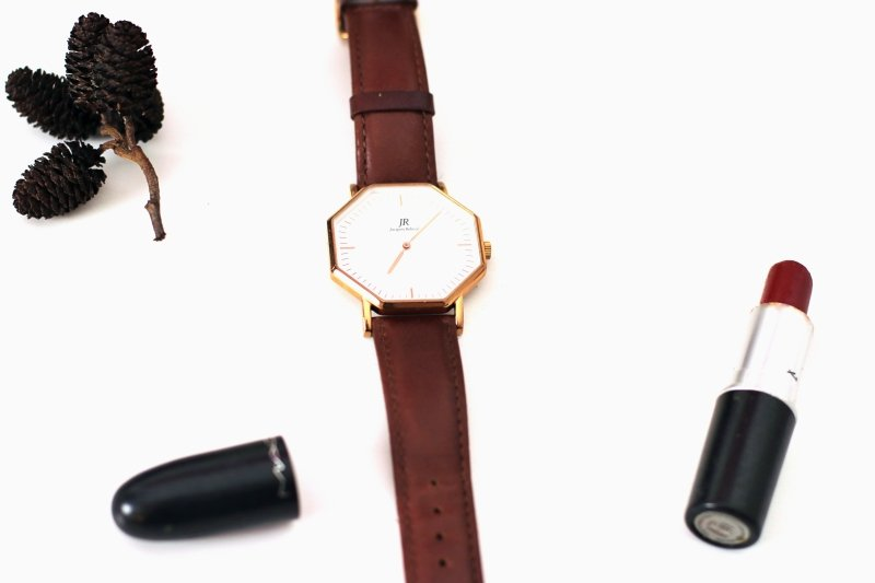 classic women's red lipstick and brown watch.jpg